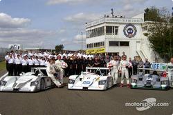 The Audi teams for the 2003 Le Mans 24 Hour race: Audi Sport Japan Team Goh, Team ADT Champion Racing and Audi Sport UK