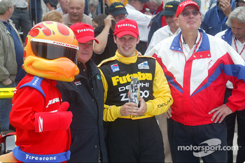 Firestone Firehawk, A.J. Foyt, race winner Ed Carpenter and Al Speyer