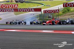 Michael Schumacher leads Juan Pablo Montoya at Remus Kurve