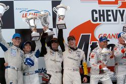 Podium: overall winners J.J. Lehto and Johnny Herbert, with Timo Bernhard, Jorg Bergmeister, and Oliver Gavin, Kelly Collins