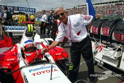Olivier Panis and Toyota Executive Vice President Dr Saito