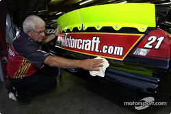 Woods Brothers Racing crew member Mike Hartman