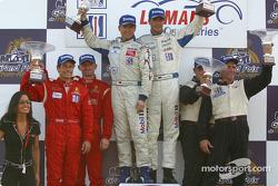 GT podium: race winners Lucas Luhr, Sascha Maassen, with Anthony Lazzaro, Ralf Kelleners and Justin Jackson, David Murry