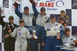 LMP675 podium: race winners Jon Field, Duncan Dayton with Melanie Paterson, Jason Workman, and Jeff Bucknum, Bryan Willman, Chris McMurry