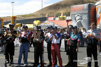 Pro Stock riders cheer on their comrades