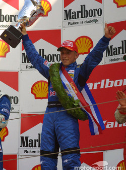 The podium: race winner Christian Klien