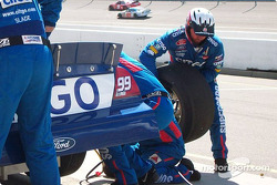 Right rear tire carrier in action on Jeff Burton's car