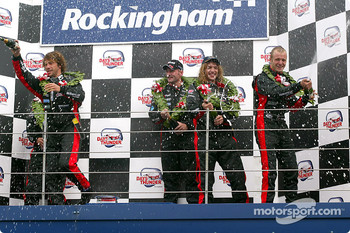 Podium: champagne for Jos Verstappen, Jay Kay, Gianmaria Bruni and Justin Hawkins