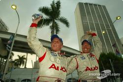 Winners Johnny Herbert and JJ Lehto celebrate