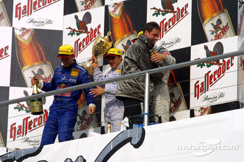 Podium: champagne for Jean Alesi, Mattias Ekström and Marcel Fassler
