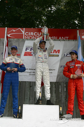 Podium: race winner Andrew Ranger with Juan Martin Ponte and Sean McIntosh