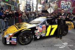 Matt Kenseth poses with the DEWALT Ford Taurus in Times Square