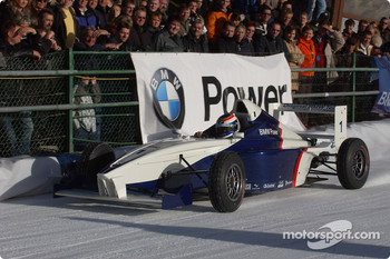 Jorg Muller drives a Formula BMW on the ice track
