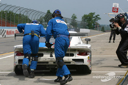Pitstop for #59 Brumos Racing Porsche Fabcar: Hurley Haywood, J.C. France, Chris Dyson