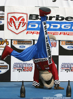 Checkers goes crazy on the podium