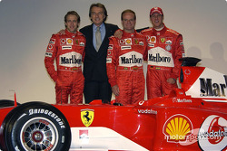 Luca Badoer, Luca di Montezemelo, Rubens Barrichello and Michael Schumacher with the new Ferrari F2004