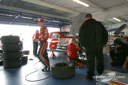 Dale Earnhardt Jr. in DEI garage area