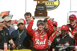 Dale Earnhardt Jr. celebrates victory on race 1 of the Twin 125s