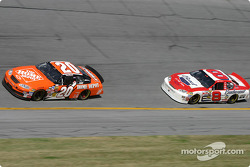 Tony Stewart leads ahead of Dale Earnhardt Jr.