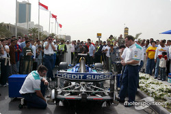Team Sauber get ready for the demonstration run