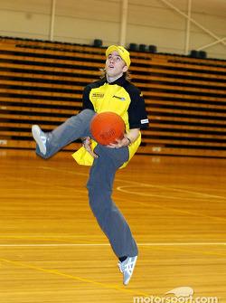 Nick Heidfeld Jordan shows off his basketball skills