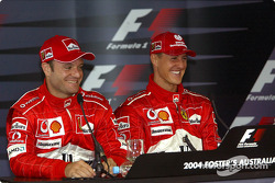 Saturday press conference: pole winner Michael Schumacher with Rubens Barrichello