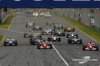 Start: Michael Schumacher takes the lead ahead of Rubens Barrichello