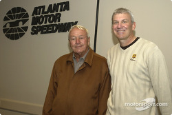 Dale Jarrett is joined by golf legend Arnold Palmer for a media interview; Palmer will act as Grand Marshall for the Golden Corral 500