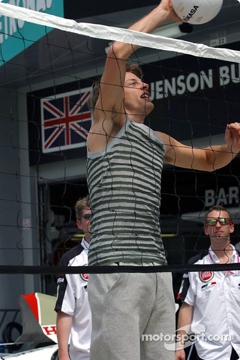 Jenson Button at a volleybal promo event