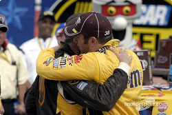 Dale Jarrett congratulates Elliott Sadler