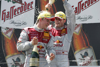 Podium: champagne for Mattias Ekström and Martin Tomczyk