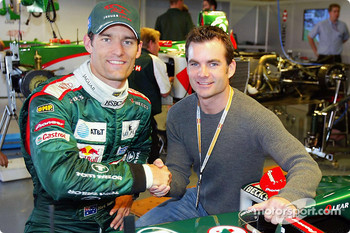 Mark Webber with NASCAR superstar Jeff Gordon