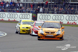 Matt Neal, James Thompson and Jason Plato battle for the lead