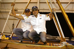 Sauber visit Cirque du Soleil: Giancarlo Fisichella and  Felipe Massa