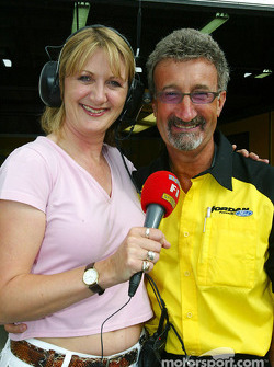 Eddie Jordan with ITV-F1 reporter Louise Goodman