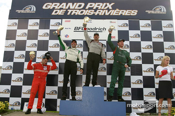 Podium: race winner Paul Gentilozzi with Tomy Drissi, Tommy Kendall and GT class winner Garrett Kletjian