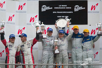 Podium: race winners Jamie Davies and Johnny Herbert, with Seiji Ara and Rinaldo Capello, and Nicolas Minassian and Jamie Campbell Walter