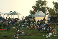 Road Atlanta fans watch race action at sunset