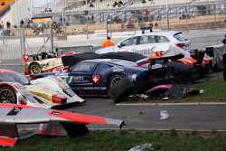Damaged cars in the parc ferme