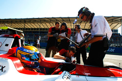 GP3 and ART engineers work on the car of Esteban Gutierrez