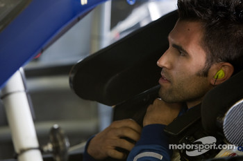 Aric Almirola gets ready to practice for Jimmie Johnson