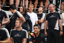 Red Bull team celebrate Mark Webber's win, Sebastian Vettel, Red Bull Racing
