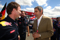 Christian Horner, Red Bull Racing, Sporting Director with Rowan Atkinson aka Mr Bean