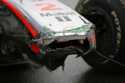 Damaged nose cone after Lewis Hamilton, McLaren Mercedes crashed during the session