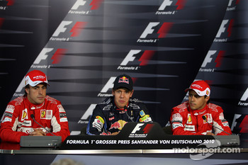 Press conference: pole winner Sebastian Vettel, Red Bull Racing, second place Fernando Alonso, third place Felipe Massa, Scuderia Ferrari