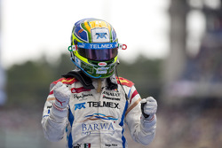 Sergio Perez celebrates his victory