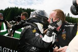Race winner Frank Kechele celebrates
