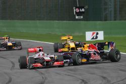 Trouble Sebastian Vettel, Red Bull Racing and Jenson Button, McLaren Mercedes