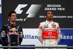 Podium: race winner Lewis Hamilton, second place Mark Webber