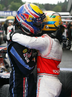 Race winner Lewis Hamilton, McLaren Mercedes, second place Mark Webber, Red Bull Racing
